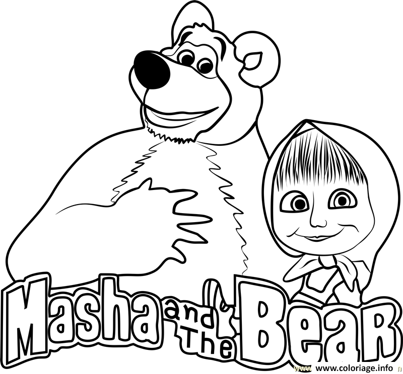 Coloriage Masha And The Bear Masha Et Michka Logo Jecoloriecom