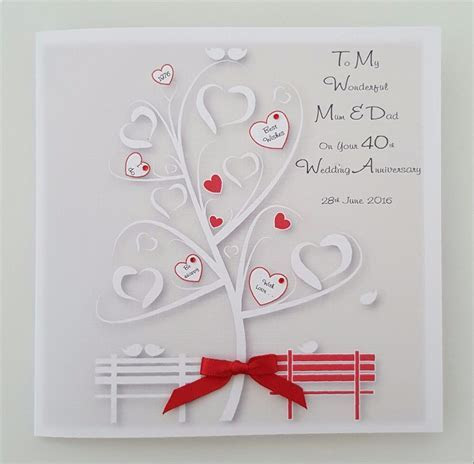 Personalised 40th Anniversary Card Mum Dad Any Relation