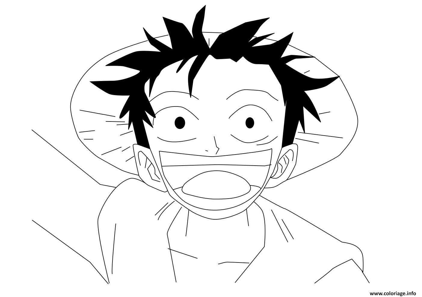 Coloriage one piece luffy trop heureux