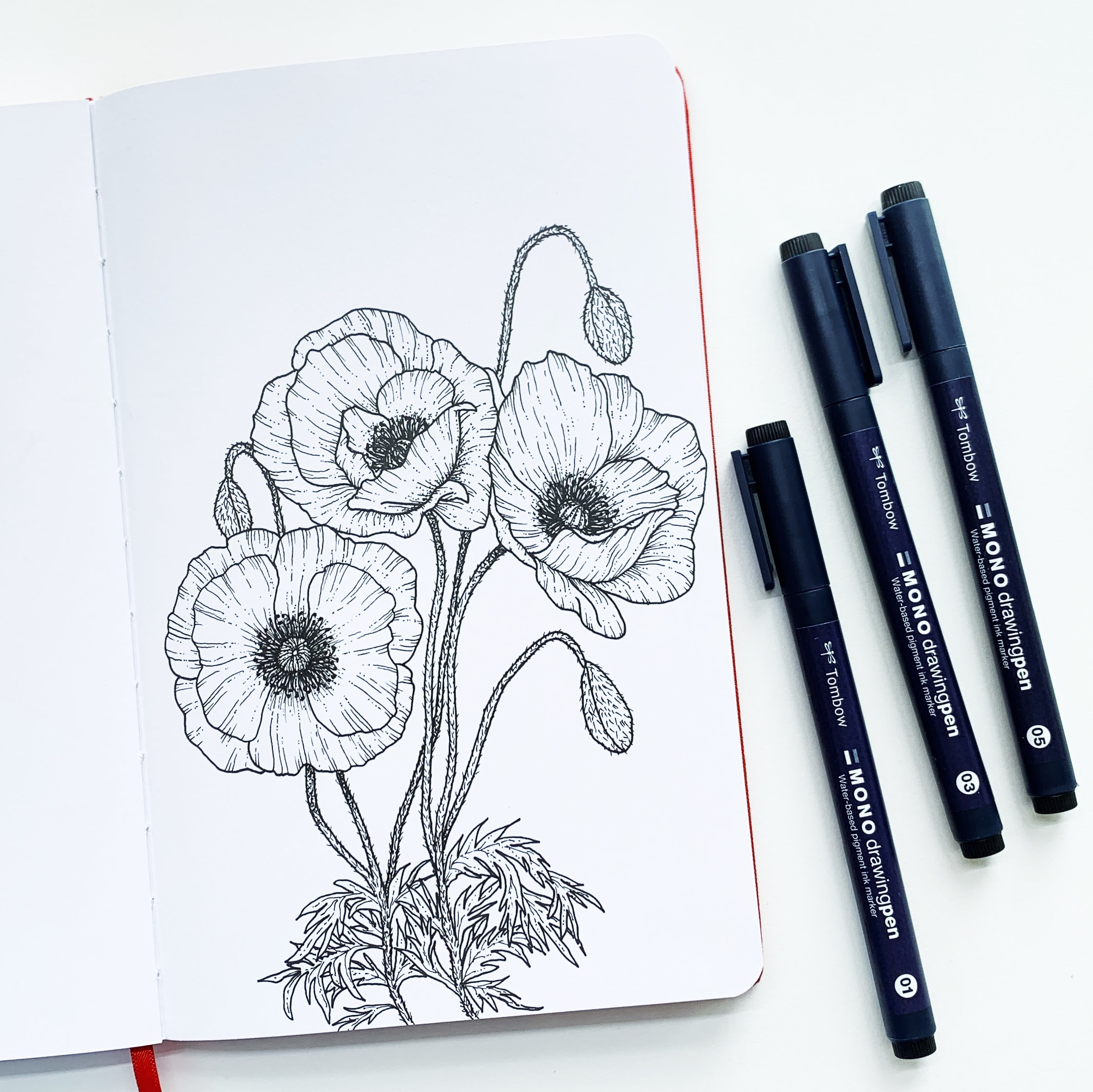 Poppy Flower Tutorial With Mono Drawing Pens Tombow Usa Blog