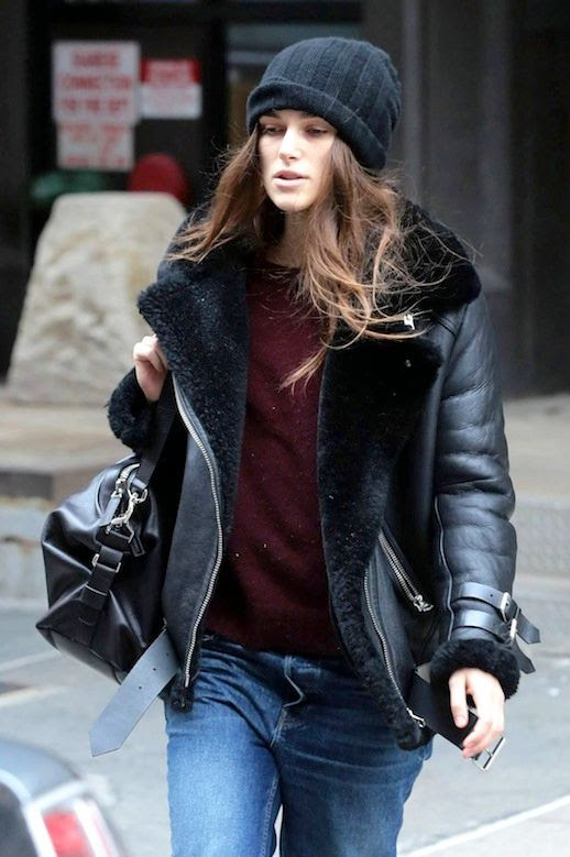 Le Fashion Blog Winter Style Keira Knightley Black Beanie Leather Shearling Jacket Maroon Sweater Via WCM