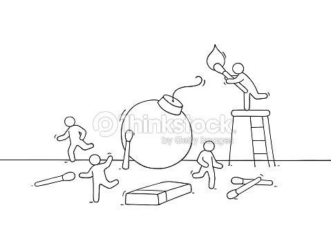 Dibujos Animados De Personas Huir De La Bomba Arte Vectorial