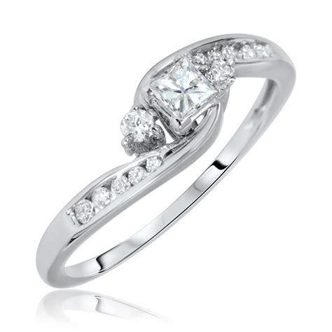 1/2 Carat T.W. Princess, Round Cut Diamond Ladies