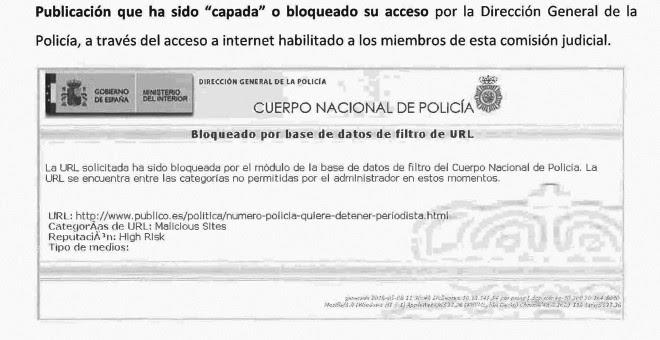 Bloqueo de URL de Público en base de datos de la Dirección General de la Policía.