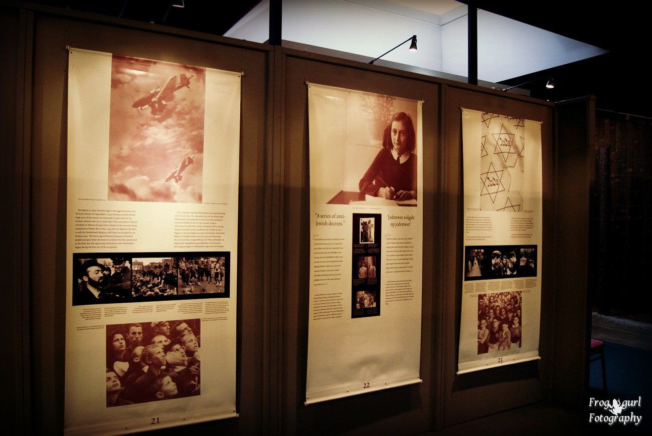 1.5, Images from a War Museum we visited. Anne Frank is in the middle.