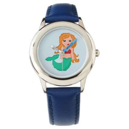 8Bit Pixel Geek Ocean Mermaid Wrist Watch