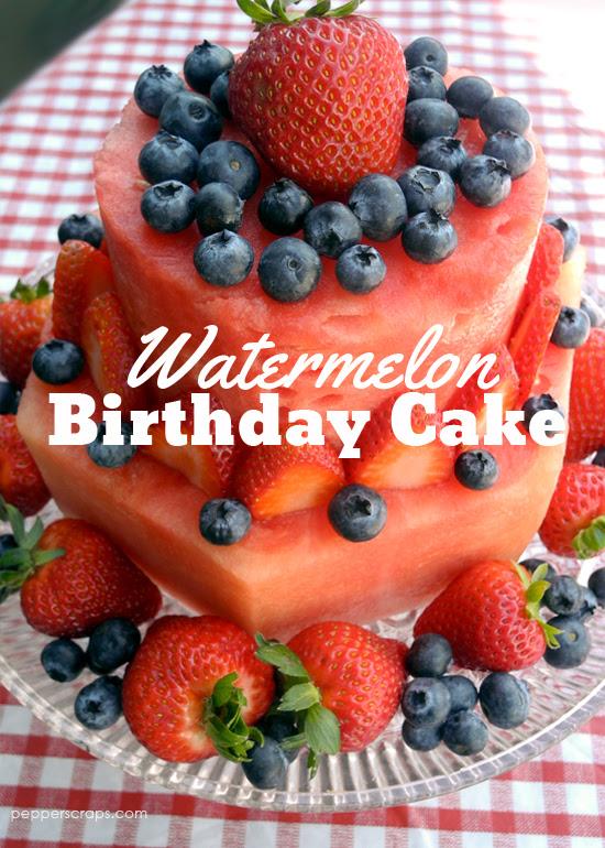 Watermelon Birthday Cake Pepper Scraps