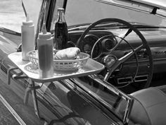 window                   tray at the drive-in