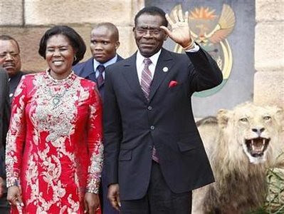 Equatorial Guinea's President Teodoro Obiang Nguema arrives for the innauguration of President Jacob Zuma in Pretoria May 9, 2009. The former Spanish colony's president is the new leader of the African Union. by Pan-African News Wire File Photos