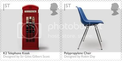 K2 Telephone Kiosk and Polypropylene Chair: Design Stamps by Royal Mail