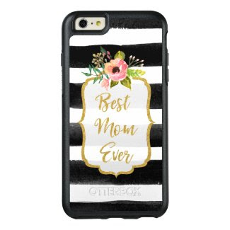 Best Mom Ever Watercolor Gold Floral Striped OtterBox iPhone 6/6s Plus Case