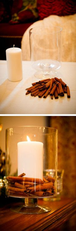 DIY Cinnamon Candle in an apothecary jar. Easy idea for a great home smell