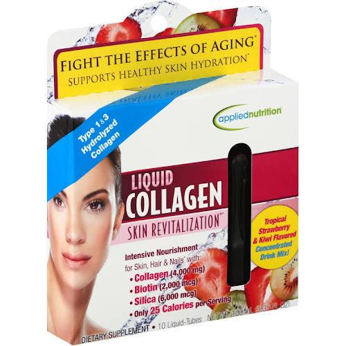 Applied Nutrition Skin Revitalization Liquid Collagen, Strawberry & Kiwi Flavored - 10 tubes, 3.35 fl oz total