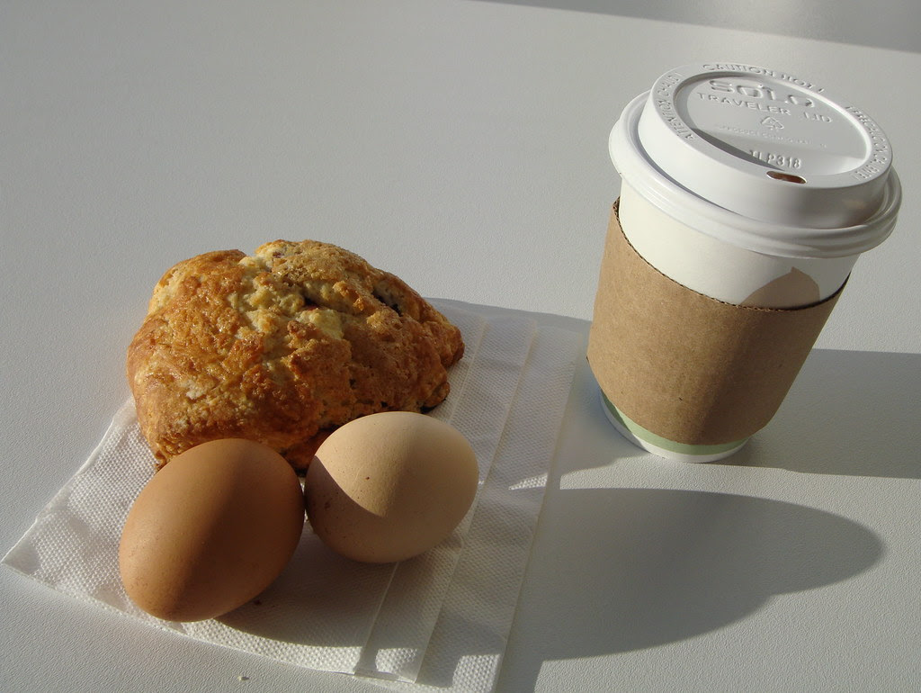 Blackberry Scone, Hard Boiled Eggs