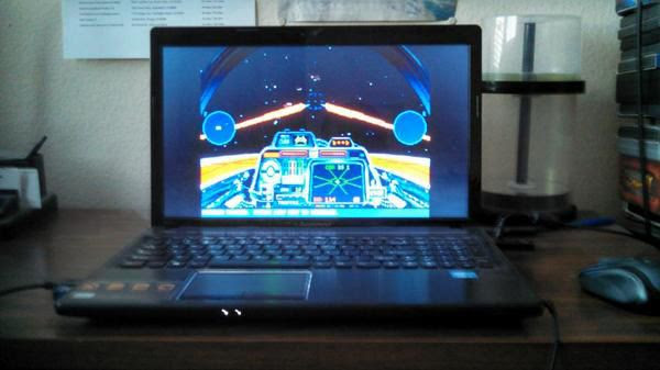 Playing the STAR WARS: X-WING video game on my laptop computer. On-screen is an A-Wing fighter that I'm flying for this mission.