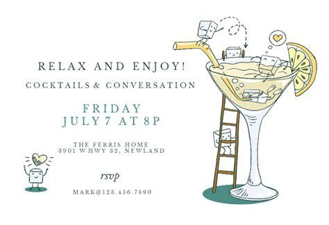 Happy Hour   Cocktail Party Invitation Template (Free