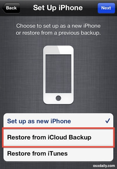 Restore from a Backup