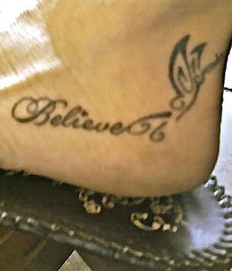 Believe Butterfly Ankle Tattoo Design Tattoos Book 65000