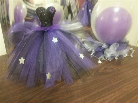 centerpieces   quinceanera  purple black  silver