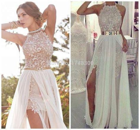 Summer Beach Halter White Ivory Wedding Dresses Long
