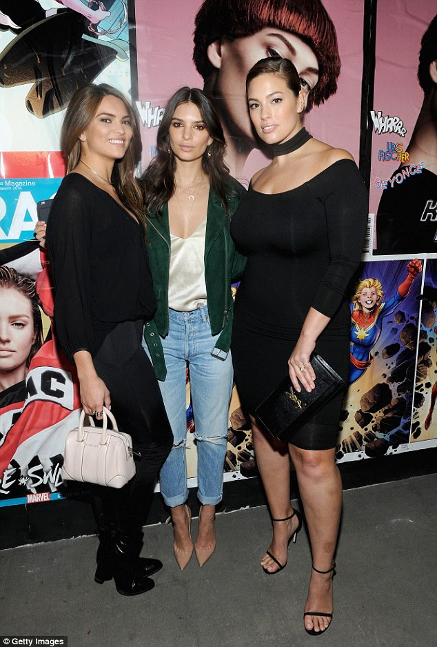 Here come the girls! Emily wasn't the only gorgeous face in attendance at the Marvel and Garage Magazine launch, however, as she was also joined by fellow model Ashley Graham (R)