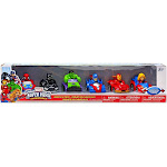 Playskool Heroes Super Hero Adventures Spider-Man, Black Panther, Hulk, Captain America, Iron Man & Captain Marvel Exclusive Pullback Vehicle 6-Pack