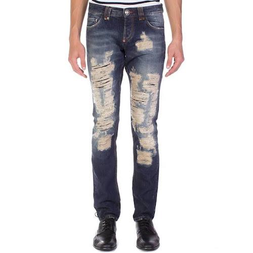 Philipp Plein Men's Straight Cut Dallas Denim Jeans Pants Blue