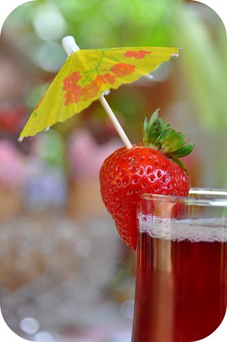 Strawberry Umbrella Garnish