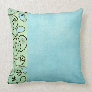 Distressed Blue and Yellow Paisley Pillows