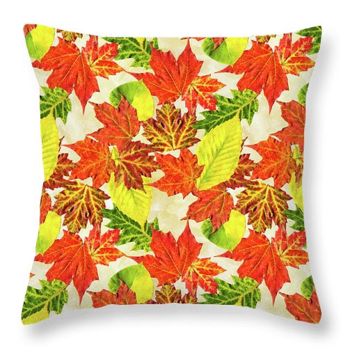Fall Leaves Pattern Throw Pillow