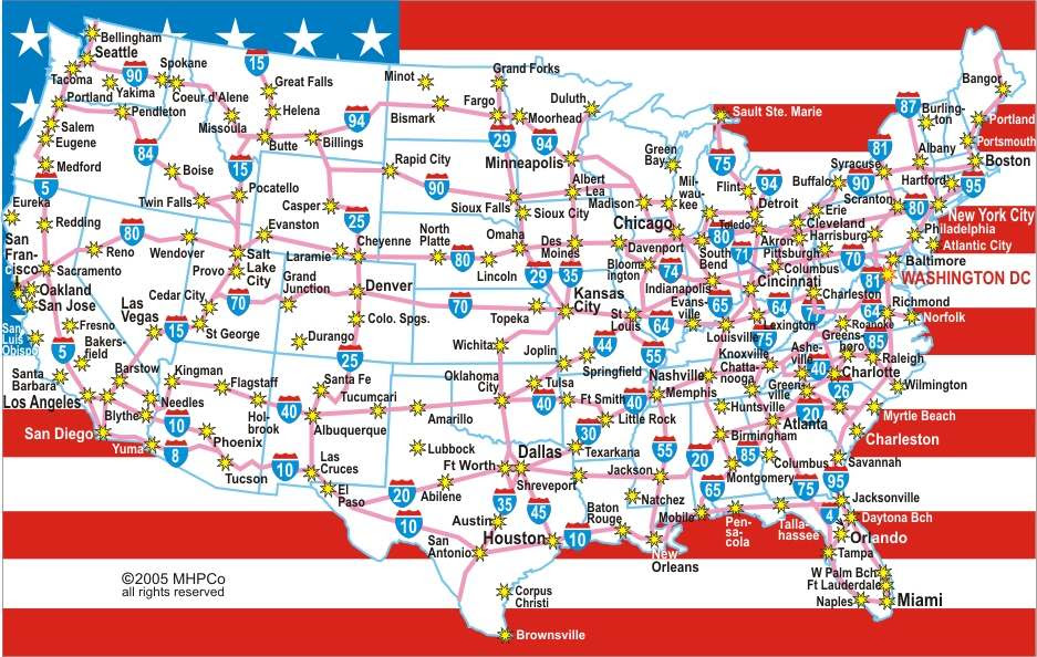 Us Map With Cities And Interstates