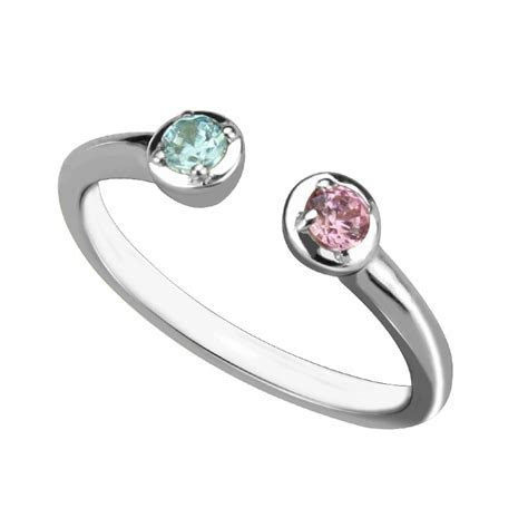 Wholesale Dual Birthstone Ring in Sterling Silver