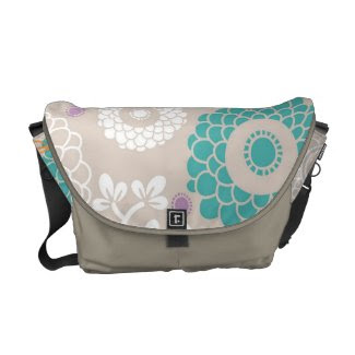 Gorgeous Abstract Floral Messenger bag rickshawmessengerbag