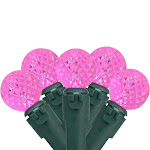 "Brite Star Set of 50 Pink LED G12 Berry Christmas Lights 4"" Bulb Spacing - Green Wire"
