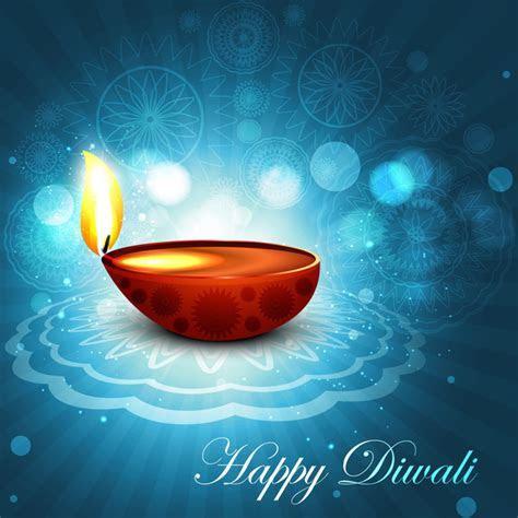 Beautiful happy diwali bright blue colorful hindu diya