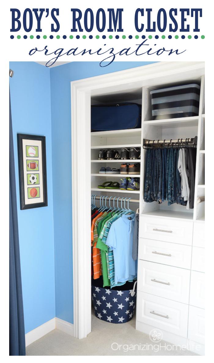 Tween Boy s  Room  Organized Closet Reveal Organizing Homelife