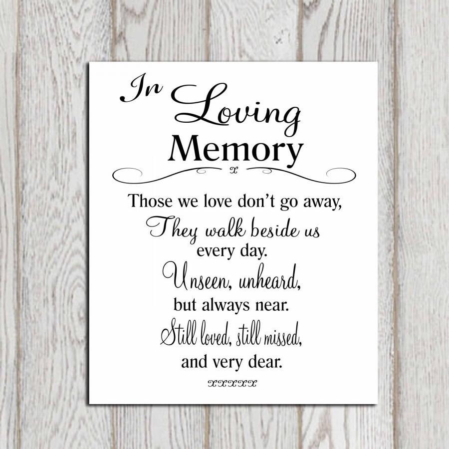 Wedding Memorial Table In Loving Memory Printable Memorial Sign
