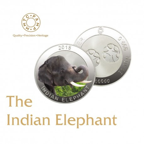 MMTC-PAMP 999 Silver Coin 1 oz / 31.10gm The Wildlife Series-2015 The Indian Elephant
