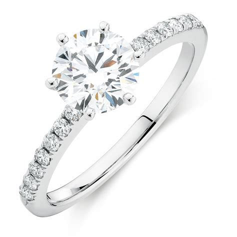 Evermore Colourless Engagement Ring with 1.12 Carat TW of