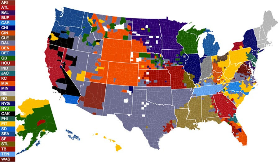 Nfl Fandom Map Tells Us A Lot About American Regionalism