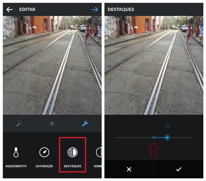 Recurso ajusta as áreas mais claras da imagem (Foto: Reprodução/Lívia Dâmaso)