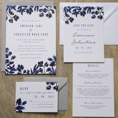 'Indigo' Watercolour Wedding Invitation Suite in 2019   1