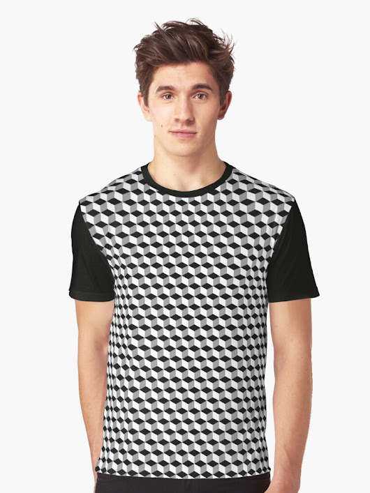 'High Contrast Cube Optical Illusion' Graphic T-Shirt by sciencenotes