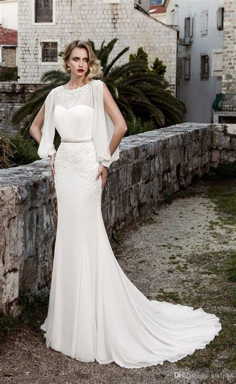 New Long Sleeve Beaded Sash Mermaid Lace Wedding Dresses