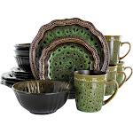 Elama EL-JADEWAVES Jade Waves 16 Piece Stoneware Dinnerware Set In Gre