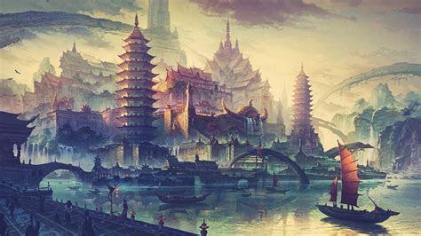 drawing water ship boat city fantasy art wallpapers