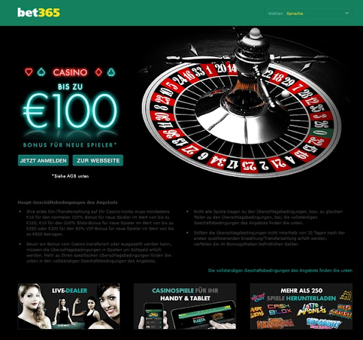 Bet365 Casino Bonus: 100% bis 100€ kassieren | OnlineCasinos.at