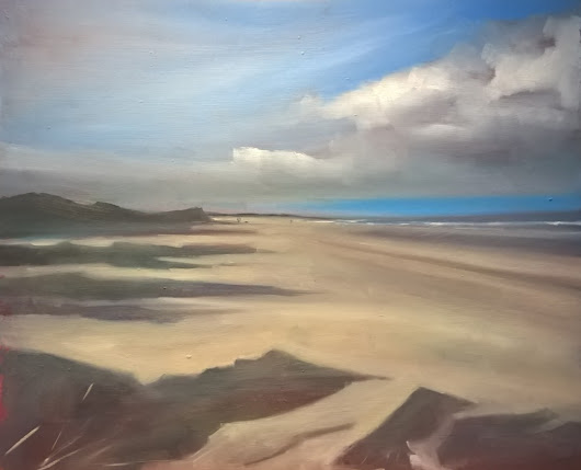 Holkham Beach, small oil sketch - Tom Cringle | Professional Artist