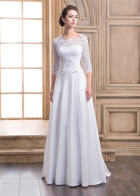 A line Elbow Sleeves Buttons Back Lace Satin Wedding Dress