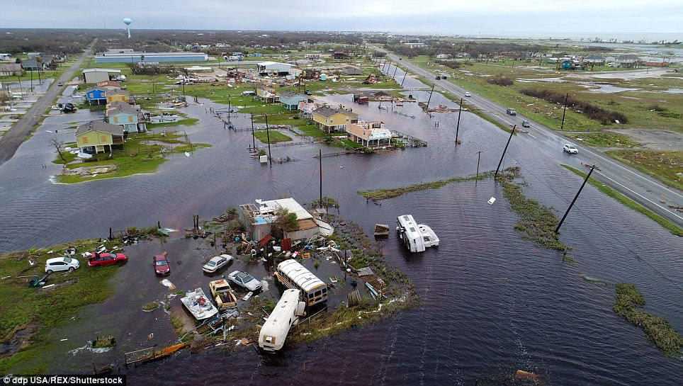 Aerial footage shows the floods in Rockport, Texas, after Hurricane Harvey on Sunday (right)